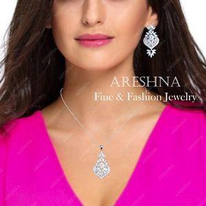 Areshna Jewelry - Marquise Swarovski Crystals Pendant Necklace